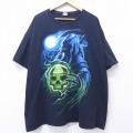 XL★古着 Tシャツ 死神 スカル 大きいサイズ コットン クルーネック 黒 ブラック 20jun30 中古 メンズ 半袖