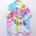 XL★古着 Tシャツ リキッドブルー キノコ 大きいサイズ コットン クルーネック ピンク系他 タイダイ 20jun30 中古 メンズ 半袖