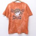 L★古着 半袖 Tシャツ スカル ドクロ コットン クルーネック オレンジ ブリーチ加工 20jul01 中古 メンズ