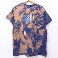 M★古着 半袖 Tシャツ スカル 星条旗 クルーネック 紺 ネイビー ブリーチ加工 20jul01 中古 メンズ