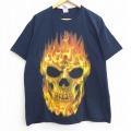 XL★古着 半袖 Tシャツ スカル 炎 コットン クルーネック 黒 ブラック 20jul02 中古 メンズ