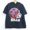 XL★古着 半袖 Tシャツ NFL バッファロービルズ コットン クルーネック 黒 ブラック アメフト スーパーボウル 20jul02 中古 メンズ