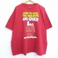 XL★古着 半袖 Tシャツ ピーナッツ スヌーピー SNOOPY 大きいサイズ コットン クルーネック 赤 レッド 20jul06 中古 メンズ