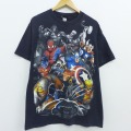 L★古着 半袖 Tシャツ 00年代 00s マーベル スパイダーマン キャプテンアメリカ ソー クルーネック 黒 ブラック 20jul07 中古 メンズ