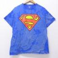 L★古着 半袖 Tシャツ DCコミックス スーパーマン コットン クルーネック 青他 ブルー ブリーチ加工 20jul10 中古 メンズ