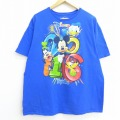 XL★古着 半袖 Tシャツ ディズニー DISNEY ミッキー MICKEY MOUSE ドナルド グーフィー フロリダ コットン クルーネック 青 ブルー 20jul13 中古 メンズ