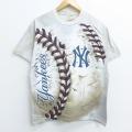 【20%OFF】L★古着 半袖 Tシャツ リキッドブルー MLB ニューヨークヤンキース コットン クルーネック グレー系 タイダイ メジャーリーグ ベースボール 野球 20jul14 中古 メンズ