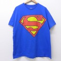 XL★古着 半袖 Tシャツ DCコミックス スーパーマン 大きいサイズ クルーネック 青 ブルー 20jul17 中古 メンズ