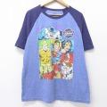 XL★古着 半袖 Tシャツ DCコミックス バットマン BATMAN スーパーマン フラッシュ ラグラン クルーネック 紺他 ネイビー 20jul20 中古 メンズ
