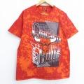 L★古着 半袖 Tシャツ NBA シカゴブルズ コットン クルーネック 赤他 レッド ブリーチ加工バスケットボール 20jul28 中古 メンズ