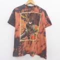 XL★古着 半袖 Tシャツ DCコミックス バットマン BATMAN クルーネック 濃グレー他 ブリーチ加工 20jul28 中古 メンズ