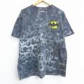 XL★古着 半袖 Tシャツ DCコミックス バットマン BATMAN コットン クルーネック 黒他 ブラック タイダイ 20jul29 中古 メンズ