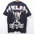 XL★古着 半袖 Tシャツ オークランド ディフェンス スカル 全面プリント 大きいサイズ クルーネック 黒 ブラック 20aug28 中古 メンズ