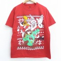L★古着 半袖 Tシャツ ルーニーテューンズ LOONEY TUNES バッグスバニー タズ クリスマス コットン クルーネック 赤 レッド 21mar22 中古 メンズ