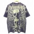 XL★古着 半袖 Tシャツ スカル 全面プリント コットン クルーネック 黒 ブラック 21mar24 中古 メンズ
