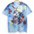 L★古着 半袖 Tシャツ スカル バラ 全面プリント コットン クルーネック 薄紺 ネイビー 21mar30 中古 メンズ