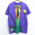 XL★古着 半袖 Tシャツ DCコミックス バットマン BATMAN ジョーカー 全面プリント クルーネック 紫 パープル 21mar30 中古 メンズ