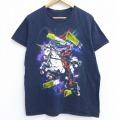 L★古着 半袖 Tシャツ マーベル デッドプール ユニコーン コットン クルーネック 黒 ブラック 21mar30 中古 メンズ