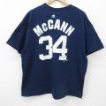 XL★古着 半袖 Tシャツ マジェスティック MLB ニューヨークヤンキース ブライアンマッキャン 34 大きいサイズ コットン クルーネック 紺 ネイビー メジャーリーグ ベースボール 野球 21mar31 中古 メンズ