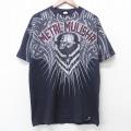 L★古着 半袖 Tシャツ メタルマリーシャ スカル 全面プリント コットン クルーネック 黒 ブラック 21apr02 中古 メンズ