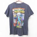 M★古着 半袖 Tシャツ マーベル スーパーマン クルーネック 濃グレー 霜降り 21apr02 中古 メンズ