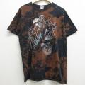 L★古着 半袖 Tシャツ マーベル ブラックパンサー コットン クルーネック 黒他 ブラック ブリーチ加工 21apr15 中古 メンズ