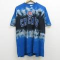 XL★古着 半袖 Tシャツ MLB シカゴカブス コットン クルーネック 青他 ブルー タイダイ メジャーリーグ ベースボール 野球 21apr20 中古 メンズ