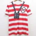 L★古着 半袖 Tシャツ ウォーリーをさがせ! クルーネック 赤他 レッド ボーダー 21apr28 中古 メンズ