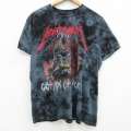 L★古着 半袖 Tシャツ メンズ DCコミックス バットマン BATMAN Gothamchytour コットン クルーネック 黒 ブラック タイダイ 21jun14 中古