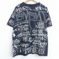 XL★古着 エレメント ELEMENT 半袖 Tシャツ メンズ メッセージ 全面プリント 大きいサイズ コットン クルーネック 黒 ブラック 21jun15 中古