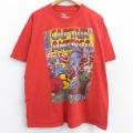XL★古着 半袖 Tシャツ メンズ DCコミックス マーベル キャプテンアメリカ 大きいサイズ コットン クルーネック 赤 レッド 21jun22 中古