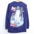 L★古着 長袖 Tシャツ 90年代 90s ペンギン Bud ICE ビール アイスホッケー コットン クルーネック USA製 紺 ネイビー 【spe】 20jun10 中古 メンズ