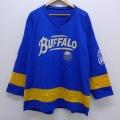 XL★古着 長袖 ビンテージ Tシャツ アイスホッケー ジャージ 90年代 90s NHL バッファローセイバーズ 大きいサイズ Vネック USA製 ユニフォーム 青 ブルー 20jun18 中古 メンズ