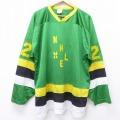 XL★古着 長袖 ビンテージ アイスホッケー ジャージ Tシャツ 90年代 90s NHL HE 大きいサイズ Vネック 緑他 グリーン 20jun22 中古 メンズ