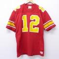 L★古着 半袖 ビンテージ フットボール Tシャツ 80年代 80s ウィルソン ロング丈 Vネック USA製 赤 レッド 20jun26 中古 メンズ