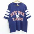 L★古着 半袖 ビンテージ フットボール Tシャツ 80年代 80s MLB ニューヨークヤンキース Vネック USA製 紺 ネイビー メジャーリーグ ベースボール 野球 【spe】 20jul28 中古 メンズ