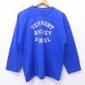 L★古着 長袖 ビンテージ フットボール Tシャツ 70年代 70s ラッセル バーモント ホッケースクール Vネック USA製 青 ブルー 20aug07 中古 メンズ