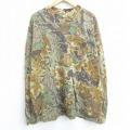 XL★古着 長袖 Tシャツ レッドヘッド 木 葉 胸ポケット付き 大きいサイズ メッシュ地 コットン クルーネック 茶他 ブラウン 20sep03 中古 メンズ