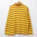 XL★古着 長袖 ブランド Tシャツ 90年代 90s ギャップ GAP コットン タートルネック モックネック 黄 イエロー ボーダー 21feb26 中古 メンズ
