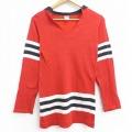 XS★古着 長袖 ビンテージ Tシャツ アイスホッケー ジャージ 70年代 70s 無地 Vネック USA製 赤 レッド 21apr05 中古 メンズ