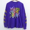 L★古着 長袖 Tシャツ マイティモーフィンパワーレンジャー コットン クルーネック 紫 パープル 21apr16 中古 メンズ