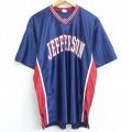 XL★古着 半袖 ビンテージ Tシャツ 90年代 90s デロング ジェファーソン Vネック USA製 紺 ネイビー 21may20 中古 メンズ