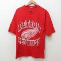 M★古着 半袖 ビンテージ フットボール Tシャツ メンズ 90年代 90s NHL デトロイトレッドウィングス Vネック 赤 レッド アイスホッケー 21jun10 中古