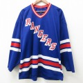 XL★古着 長袖 Tシャツ メンズ NHL ニューヨークレンジャース Vネック 青他 ブルー ユニフォーム ゲームシャツ アイスホッケー 21jun16 中古