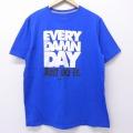 L★古着 半袖 ブランド Tシャツ ナイキ NIKE EVERY DAMN DAY JUST DO IT コットン クルーネック 青 ブルー 20jun30 中古 メンズ