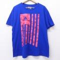 XL★古着 半袖 ブランド Tシャツ アディダス adidas ロゴ コットン クルーネック 青 ブルー 20jun30 中古 メンズ