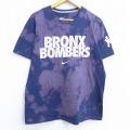 L★古着 半袖 ブランド Tシャツ ナイキ NIKE MLB ニューヨークヤンキース BRONX BOMBERS ロゴ コットン クルーネック 紺他 ネイビー メジャーリーグ ベースボール 野球 ブリーチ加工 20jul01 中古 メンズ