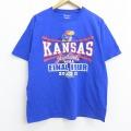 L★古着 半袖 ブランド Tシャツ チャンピオン Champion NCAA バスケットボール カンザスジェイホークス コットン クルーネック 青 ブルー 20jul14 中古 メンズ
