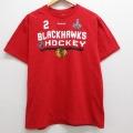 L★古着 半袖 ブランド Tシャツ リーボック REEBOK ワンポイントロゴ NHL シカゴブラックホークス ダンカンキース 2 コットン クルーネック 赤 レッド アイスホッケー 21mar13 中古 メンズ