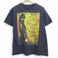 L★古着 半袖 ブランド Tシャツ オベイ OBEY 男性 コットン クルーネック 黒 ブラック 21mar25 中古 メンズ